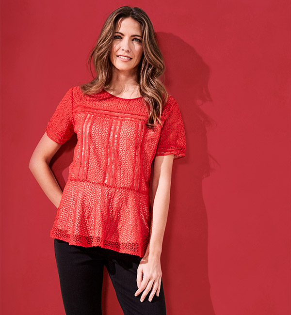 Lace Peplum Blouse With Contrast Lining