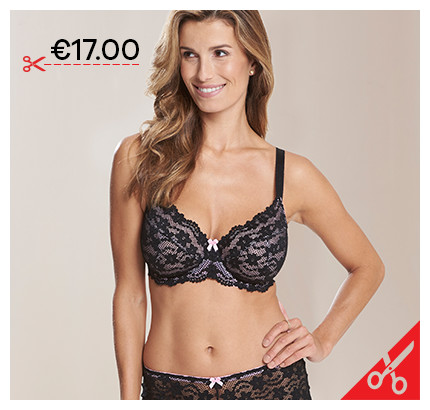 PRETTY SECRETS DAISY BLACK/PALE PINK LACE FULL CUP WIRED BRA